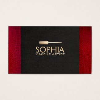 Makeup Artist Black Linen and Red Alligator Skin Business Card
