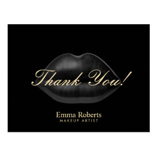 Makeup Artist Black Lips Beauty Salon Thank You Postcard