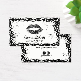 Makeup Artist Black Lips Chic Thorn Vine Frame Business Card