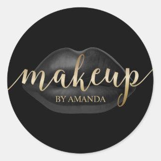 Makeup Artist Black Lips Gold Script Beauty Salon Classic Round Sticker