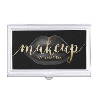 Makeup Artist Black Lips Modern Beauty Salon Business Card Holder