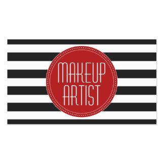 Makeup Artist Black & White Stripes Business Card