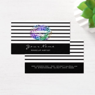 Makeup Artist Black White Stripes Lips Tropical Business Card