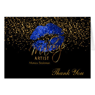 Makeup Artist  Blue Lips on Black Card