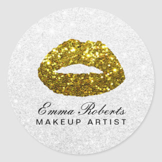 Makeup Artist Chic Gold Glitter Lips Beauty Salon Round Sticker