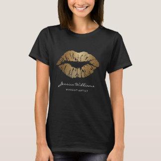 Makeup Artist Chic Gold Glitter Lips T-Shirt