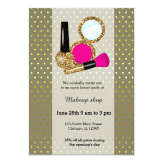 "Makeup artist - choose background color 5"" x 7"" invitation card"