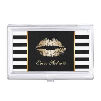 Makeup Artist Classy Black White Stripes Gold Lips Business Card Holder