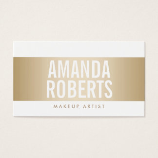 Makeup Artist Classy Gold Striped Bold Text Simple Business Card