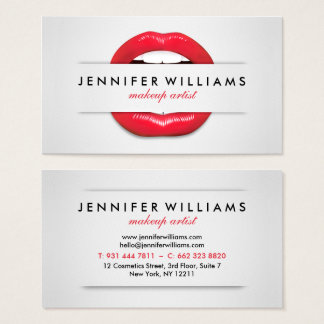 Makeup artist cool red lips gray texture modern business card