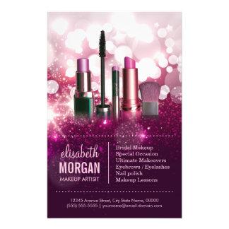 Makeup Artist Cosmetician - Pink Beauty Glitter Flyers
