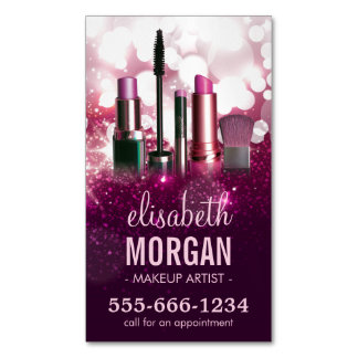 Makeup Artist Cosmetician - Pink Beauty Glitter Magnetic Business Card