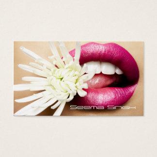 Makeup Artist cosmetics lips white flower Business Card
