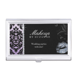 Makeup Artist Cosmetologist Cosmetology Damask Business Card Holder