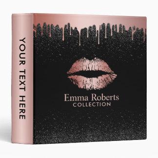 Makeup Artist Dripping Rose Gold Lips Beauty Salon 3 Ring Binder