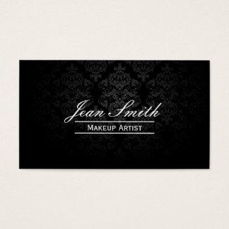 Makeup Artist Elegant Dark Damask Business Card