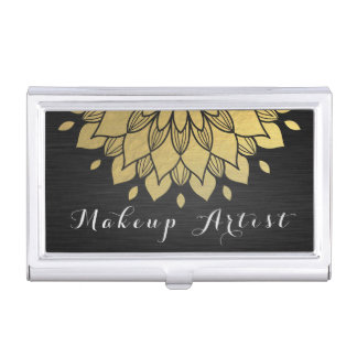 Makeup Artist Elegant Gold Ornate Flower Business Card Holder