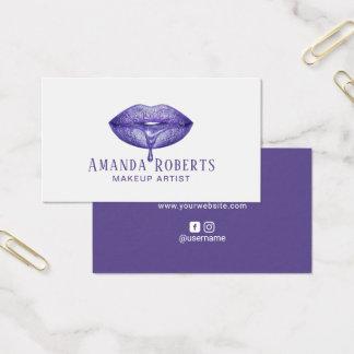 Makeup Artist Elegant Violet Drip Lips Business Card