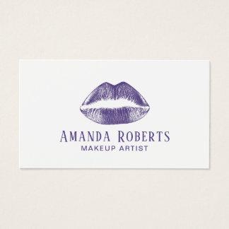 Makeup Artist Elegant Violet Lips Purple Business Card