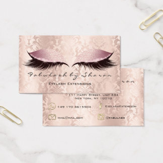 Makeup Artist Eyebrow Lashes Damask Glitter Pink Business Card