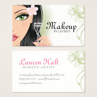 Makeup Artist Eyelash Curler Green Business Card