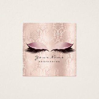 Makeup Artist Eyes Lashes Glitter Pink Damask Square Business Card