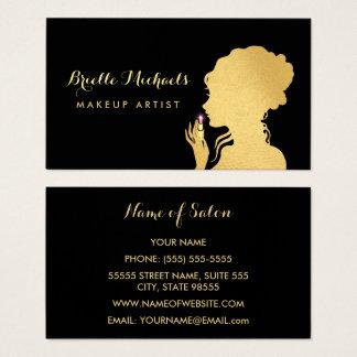 Makeup Artist Faux Gold Woman Pink Glitz Lipstick Business Card