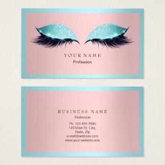 Makeup Artist Frame Glitter Eye Aqua Tiffany Pink Business Card