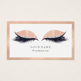 Makeup Artist Framed Glitter Eye Lashes Peach Business Card