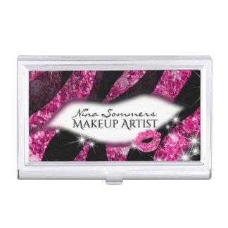 Makeup Artist Glam Pink Glitter Lips Zebra Print Business Card Holder