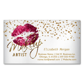 Makeup Artist - Gold Confetti and  Hot Pink Lips Magnetic Business Card