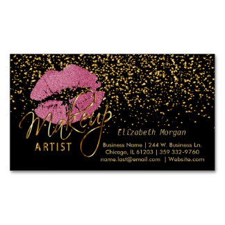 Makeup Artist - Gold Confetti & Pretty Pink Lips Business Card Magnet