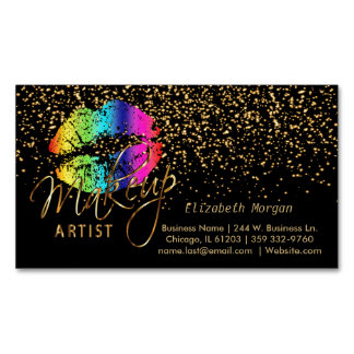 Makeup Artist - Gold Confetti & Rainbow Lips Magnetic Business Card