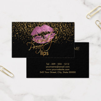Makeup Artist - Gold Confetti & So Pink Lips Business Card