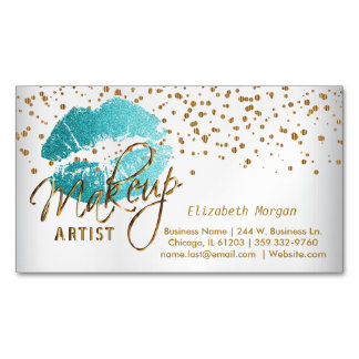 Makeup Artist - Gold Confetti & Teal Lips Magnetic Business Card