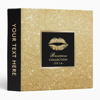 Makeup Artist Gold Glitter Lips Beauty Salon 3 Ring Binder