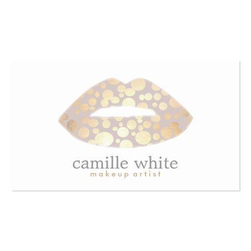 Artist gold lips beauty cosmetics modern business card templates