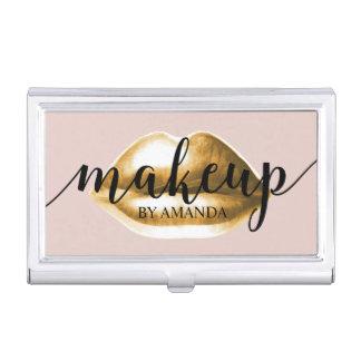 Makeup Artist Gold Lips Blush Pink Girly Business Card Holder