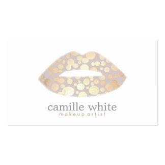 Makeup Artist Gold Lips Logo Beauty Salon Pack Of Standard Business Cards