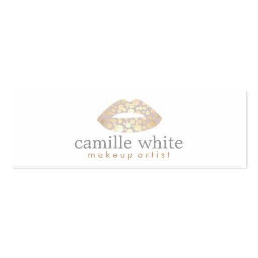 Makeup Artist Gold Lips Mini Business Cards