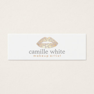 Makeup Artist Gold Lips Mini Mini Business Card