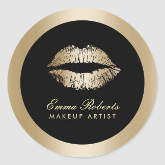 Makeup Artist Gold Lips Modern Black & Gold Salon Round Sticker