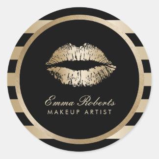 Makeup Artist Gold Lips Modern Black Gold Stripes Round Sticker