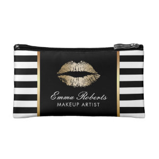 Makeup Artist Gold Lips Modern Black White Stripes Cosmetic Bag