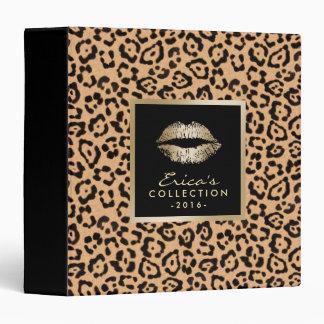 Makeup Artist Gold Lips Modern Leopard Print Vinyl Binders