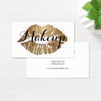 Makeup Artist Gold Lips Modern Script Business Card