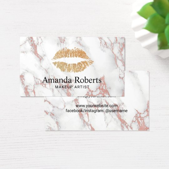 Makeup Artist Gold Lips Trendy White Marble Business Card