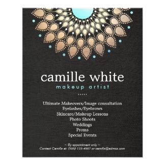 Makeup Artist Gold Ornate Motif Black Linen Look Personalized Flyer