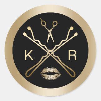 Makeup Artist Gold Scissor Lips Initials Salon Round Sticker