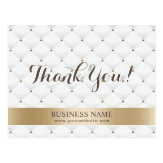 Makeup Artist Gold Stripe Luxury Quilted Thank You Postcard